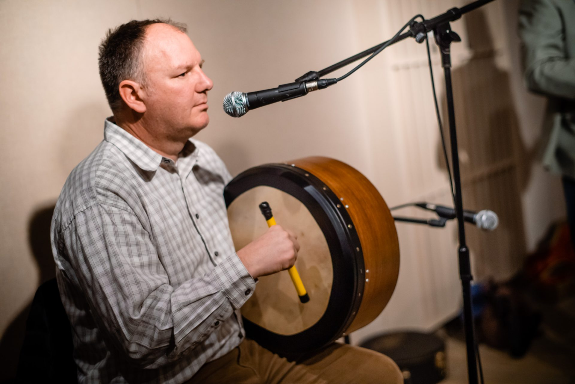Sean O'Neal playing the bodhran