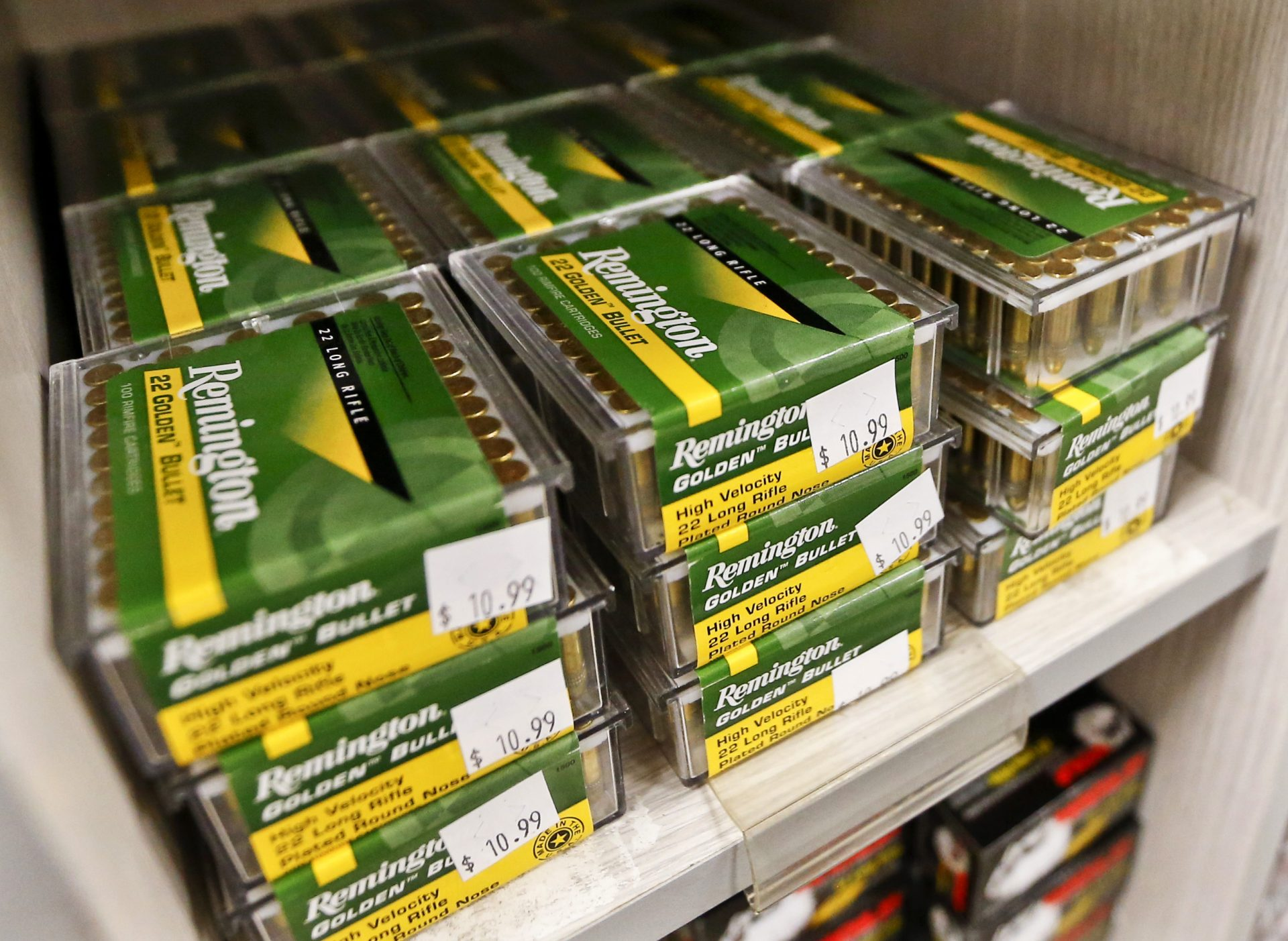 FILE- In this March 1, 2018, file photo Remington .22 LR ammunition is for sale at Duke's Sport Shop in New Castle, Pa. U.S. gun maker Remington Outdoor Company has filed for bankruptcy protection, after years of falling sales and lawsuits tied to the Sandy Hook Elementary School massacre. Records from the bankruptcy court of the district of Delaware show that the company filed late Sunday, March 25.