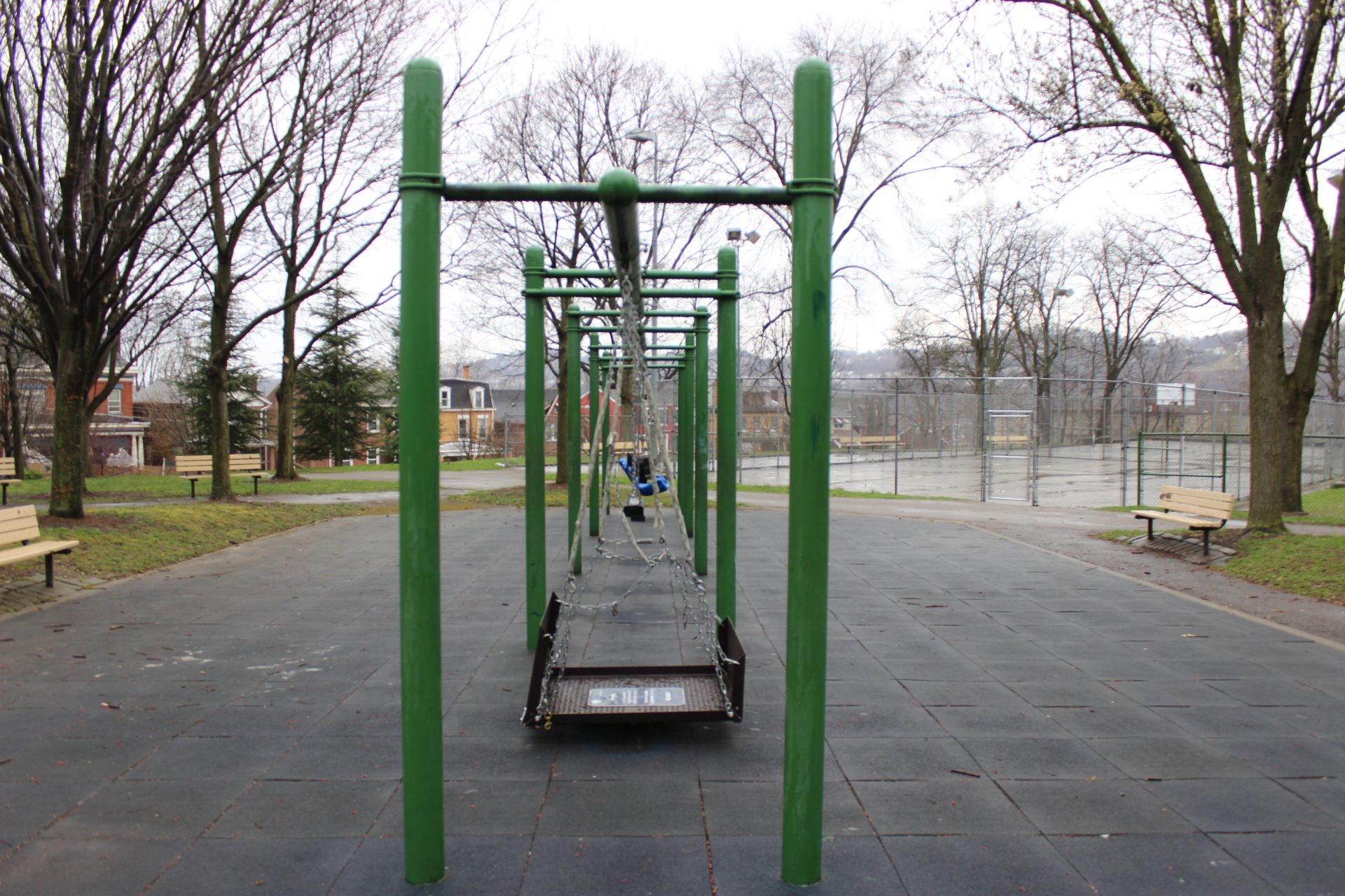 Swings sit empty in Pittsburgh's Arsenal Park on Monday, March 23, 2020.