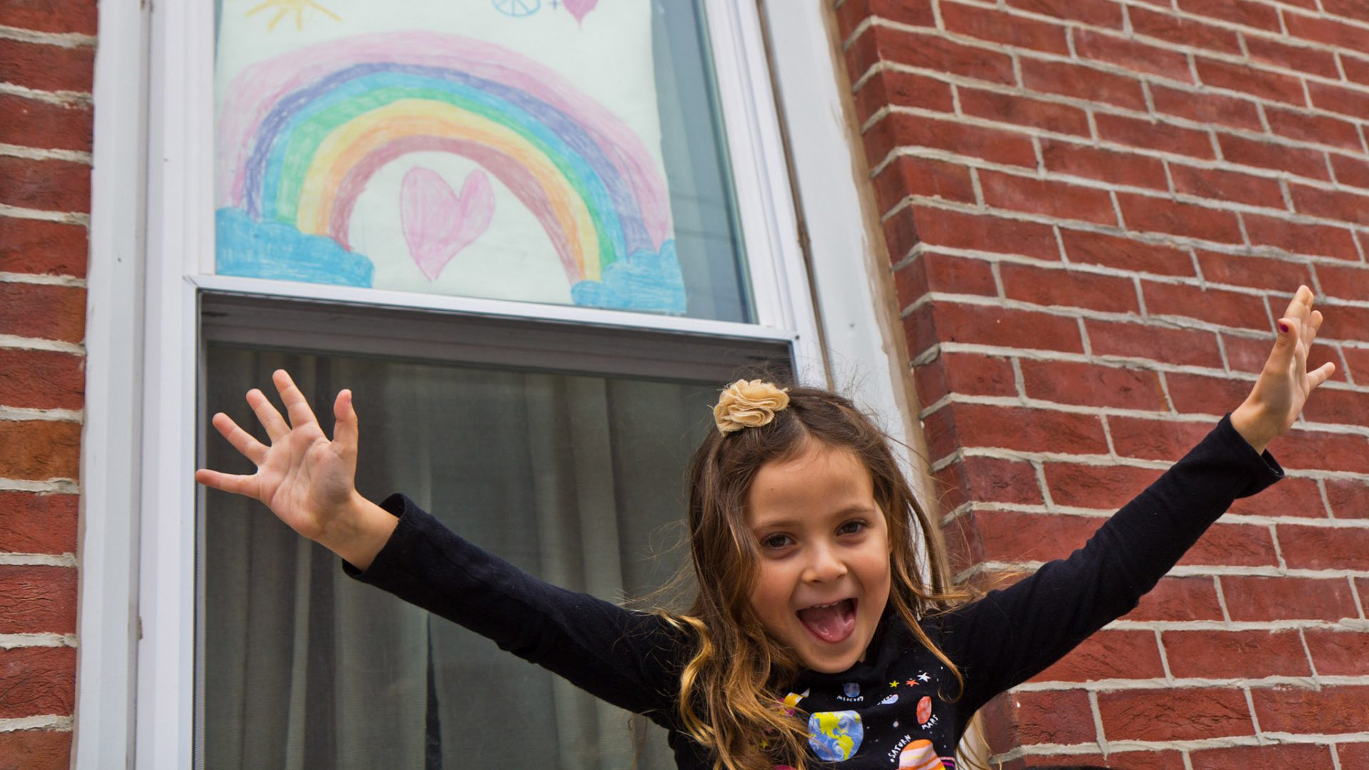 Bowie Moon Porter drew this rainbow in Philadelphia's Fishtown neighborhood