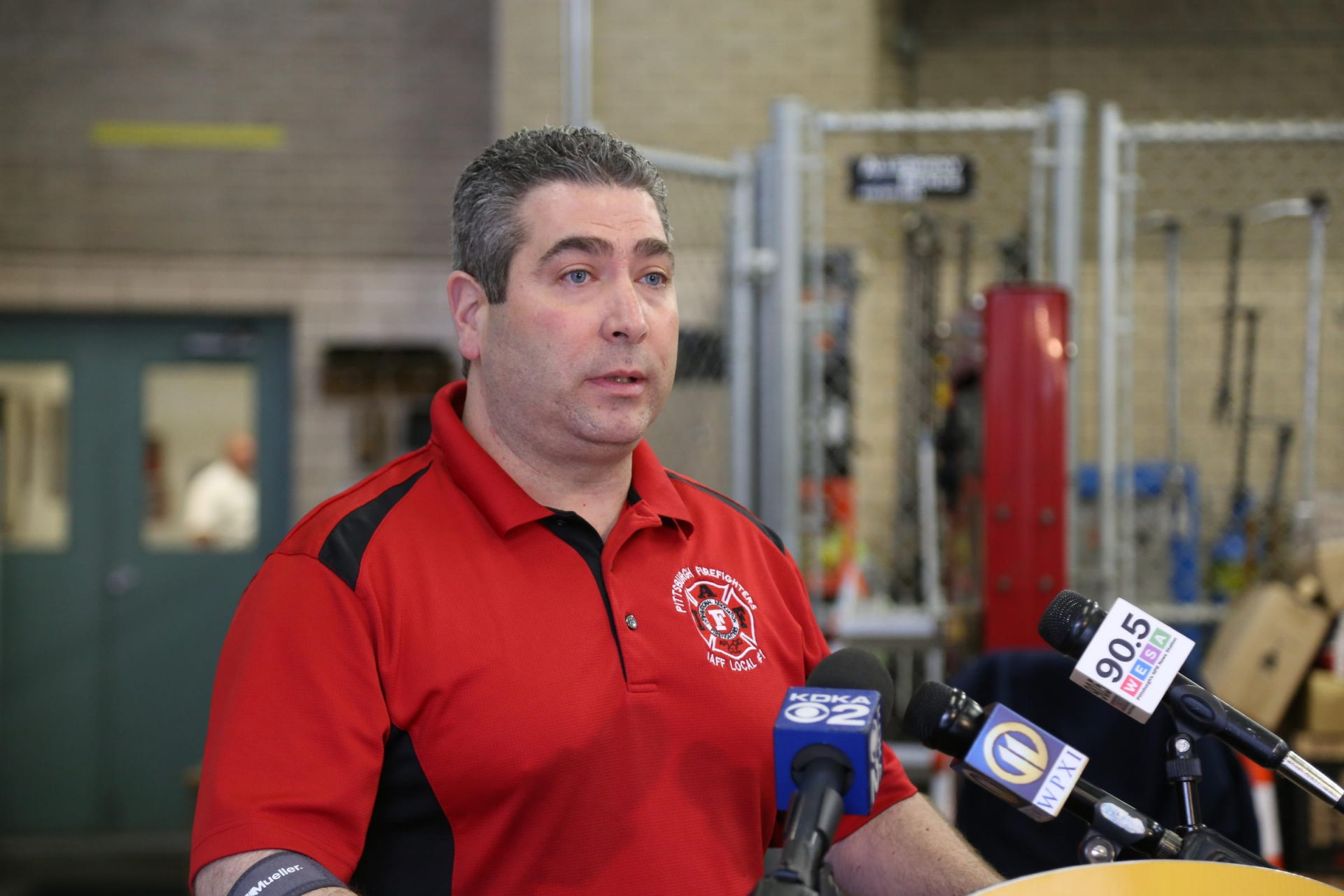 Ralph Sicuro, the president of Pittsburgh Firefighters Local No. 1, speaks at a press conference at the fire training facilities on March 28, 2017.