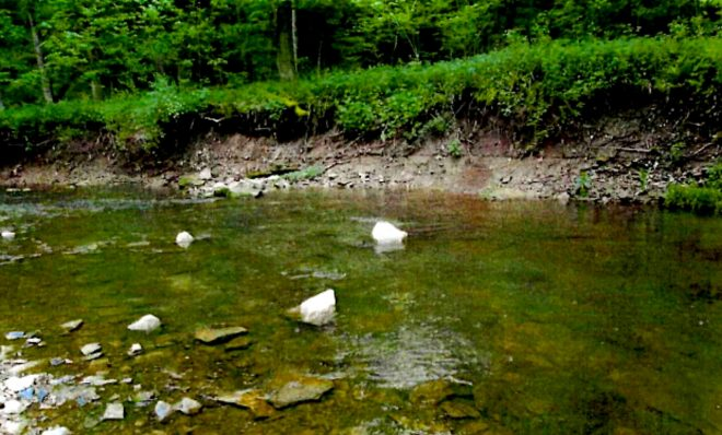 A failing stream bank along Mingo Creek in Washington County. CNX agreed to put almost $200,000 toward streambank stabilization and installation of fish habitat structures along the creek as part of an agreement with the DEP over erosion and sediment violations.