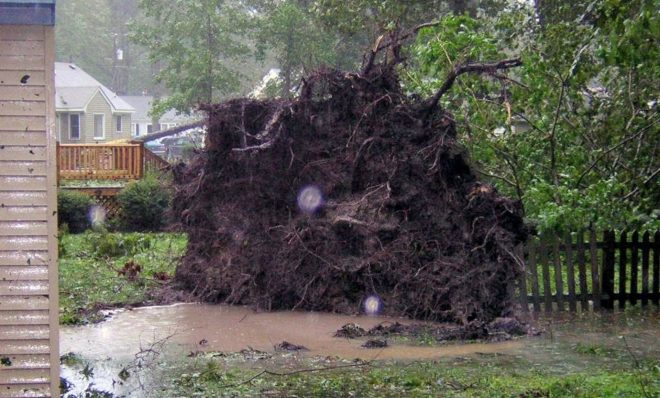 Damage outside the home of Chris and Kelly Noyes caused by Hurricane Isabelle in 2003.