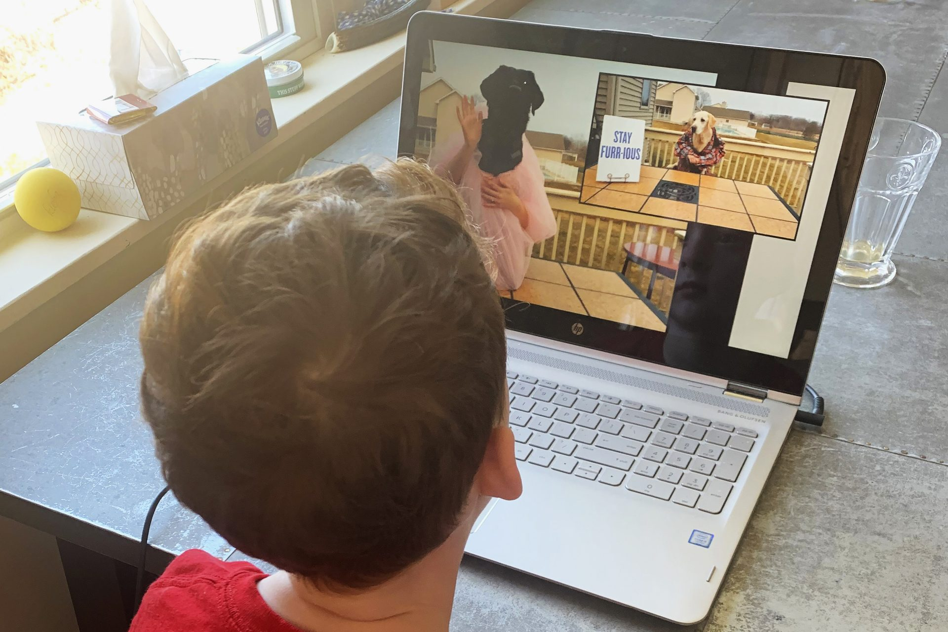 This April 6, 2020, photo released by Alexandra Nicholson shows her son, Henry Martinsen, on his computer in Quincy, Mass. The frustration of parents is mounting as more families across the U.S. enter their second or even third week of total distance learning, and some say it will be their last.