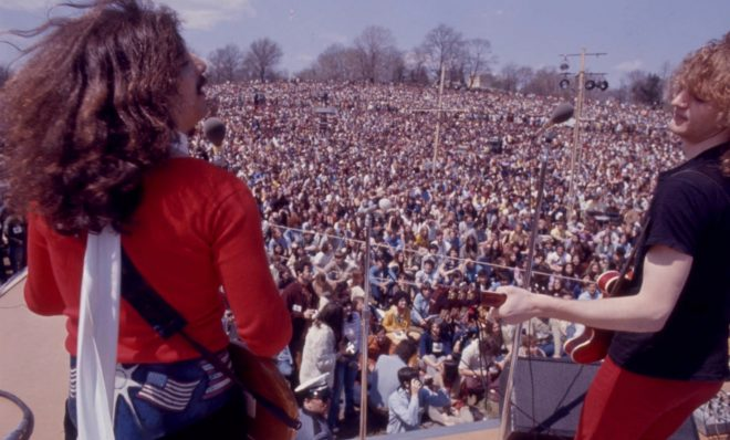 American Dream performs at the Earth Day Rally at Belmont Plateau in Fairmount Park on April 22,1970.