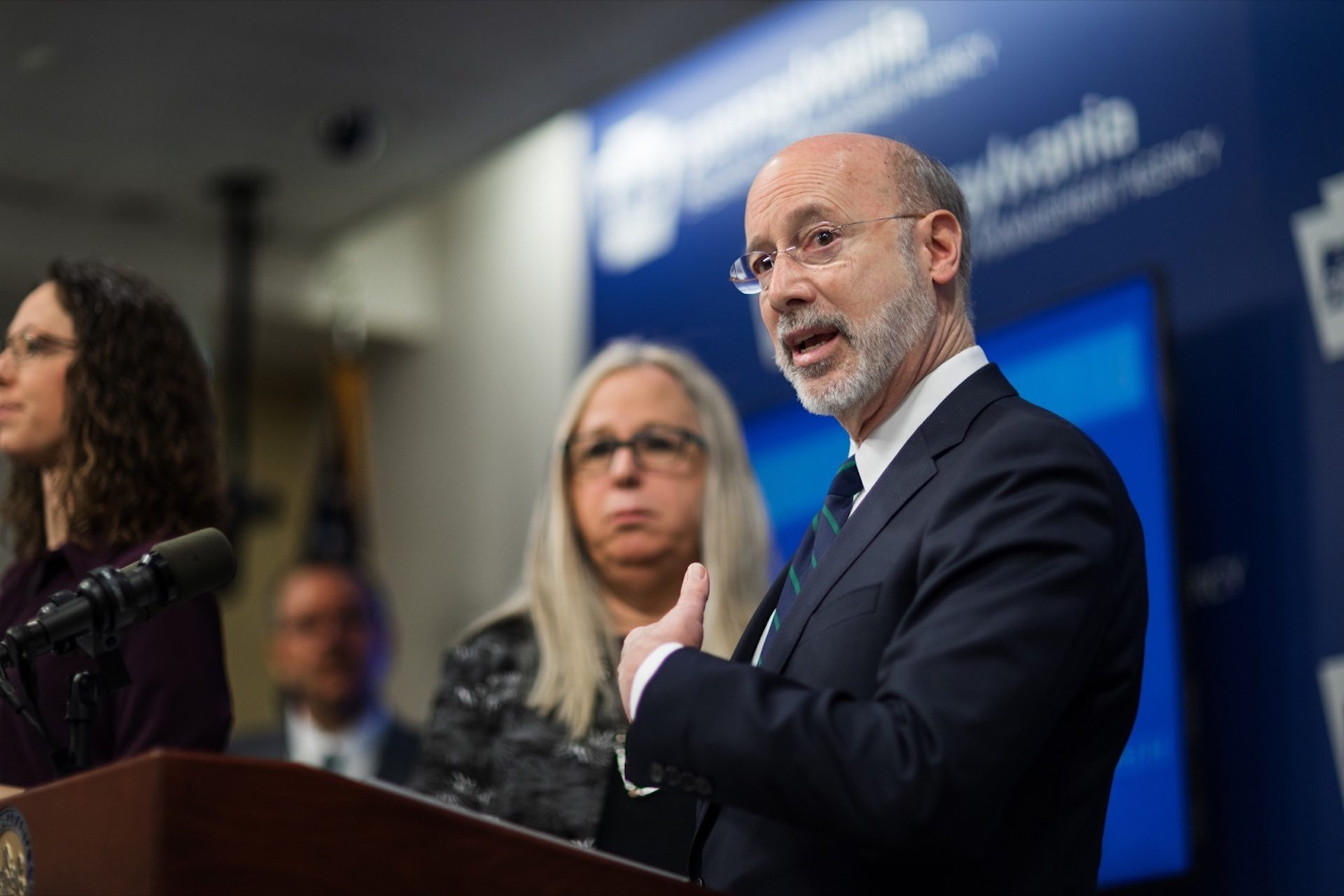 Gov. Tom Wolf speaks during a press conference inside PEMA headquarters on Wednesday, March 4, 2020.