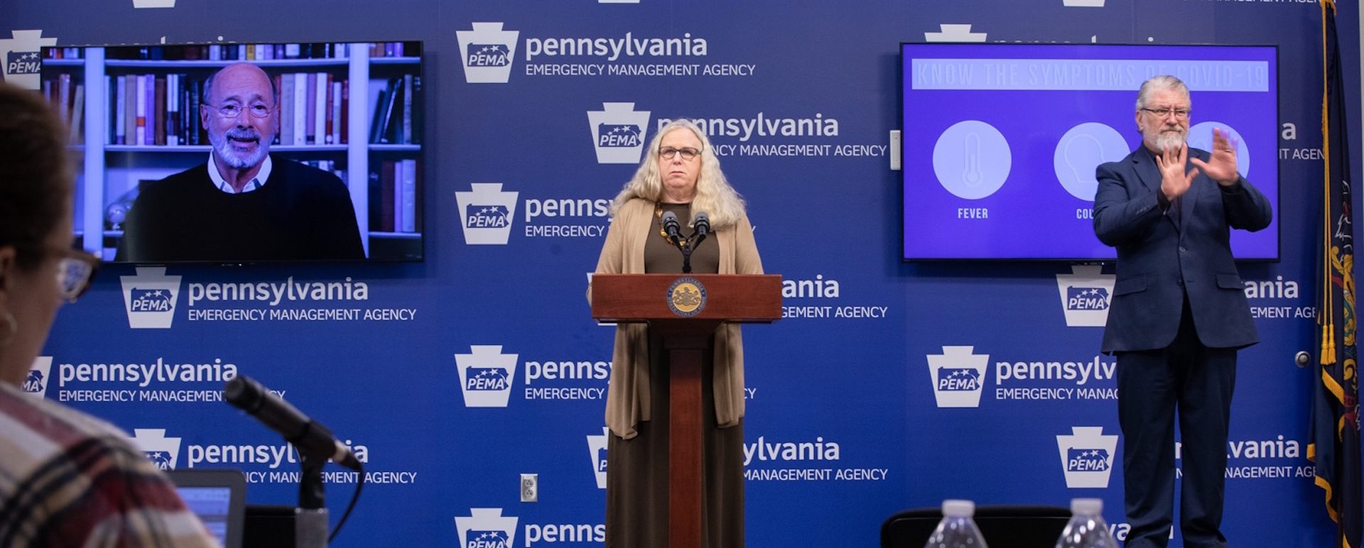 Secretary of Health Dr. Rachel Levine speaking at the virtual press conference in Harrisburg on March 20, 2020.