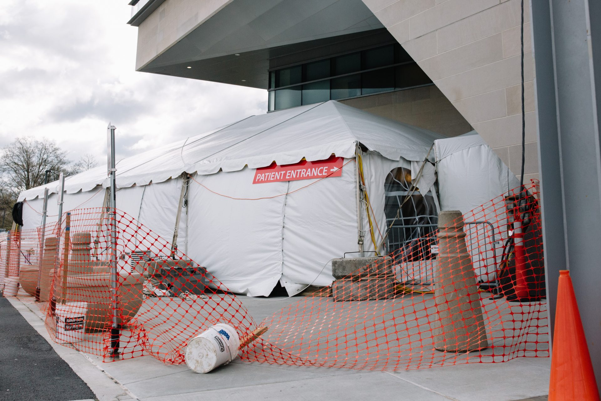A coronavirus-testing tent is set up outside of Penn State Health's Milton S. Hershey Medical Center on April 10, 2020.