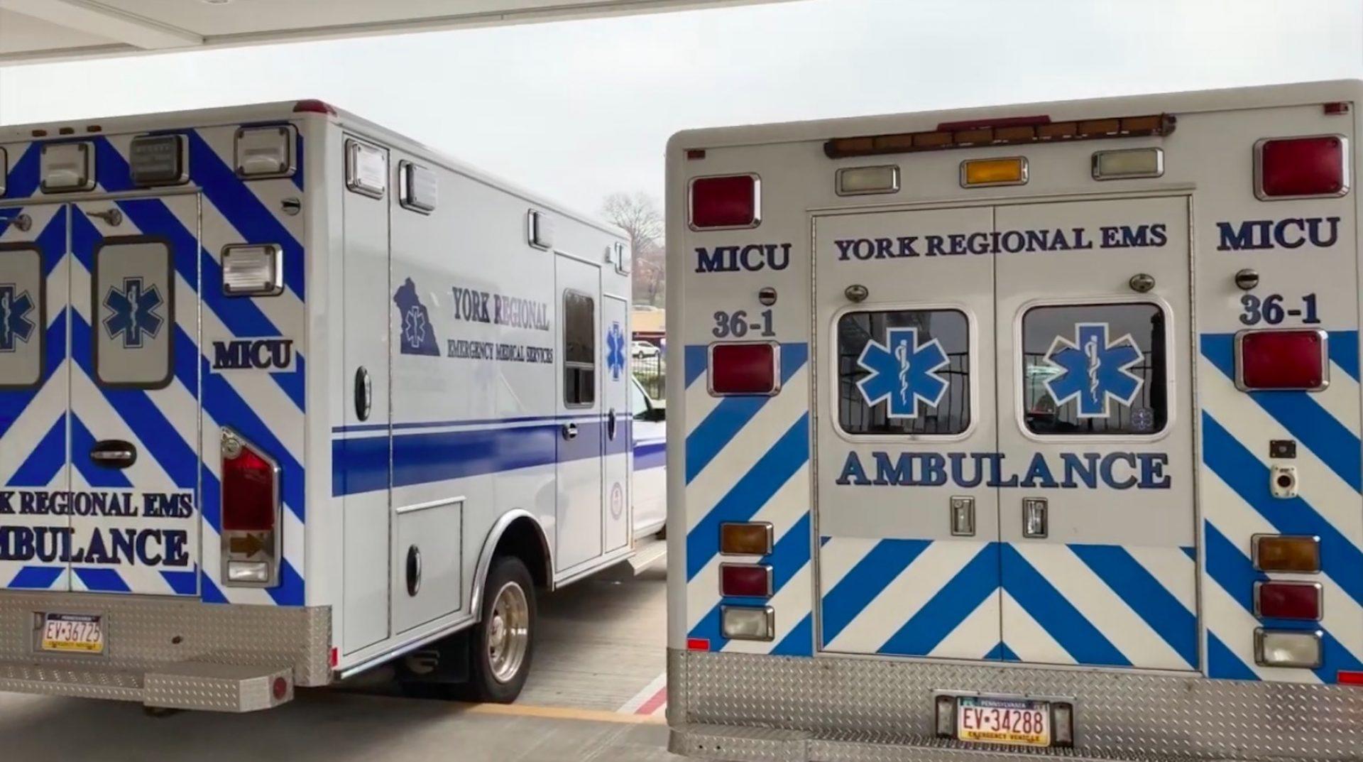 York Regional EMS ambulances outside York Hospital.