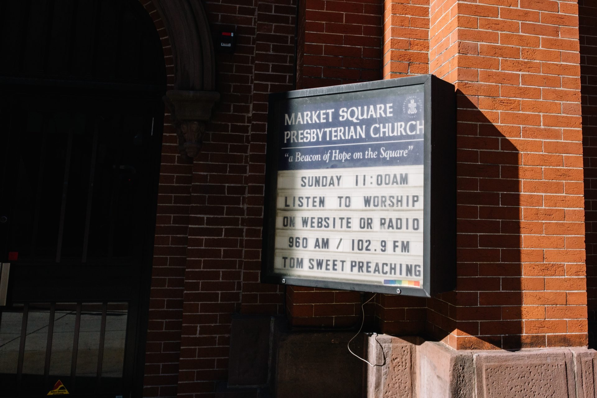 A sign promotes virtual services at Market Square Presbyterian Church in Harrisburg on April 10, 2020.