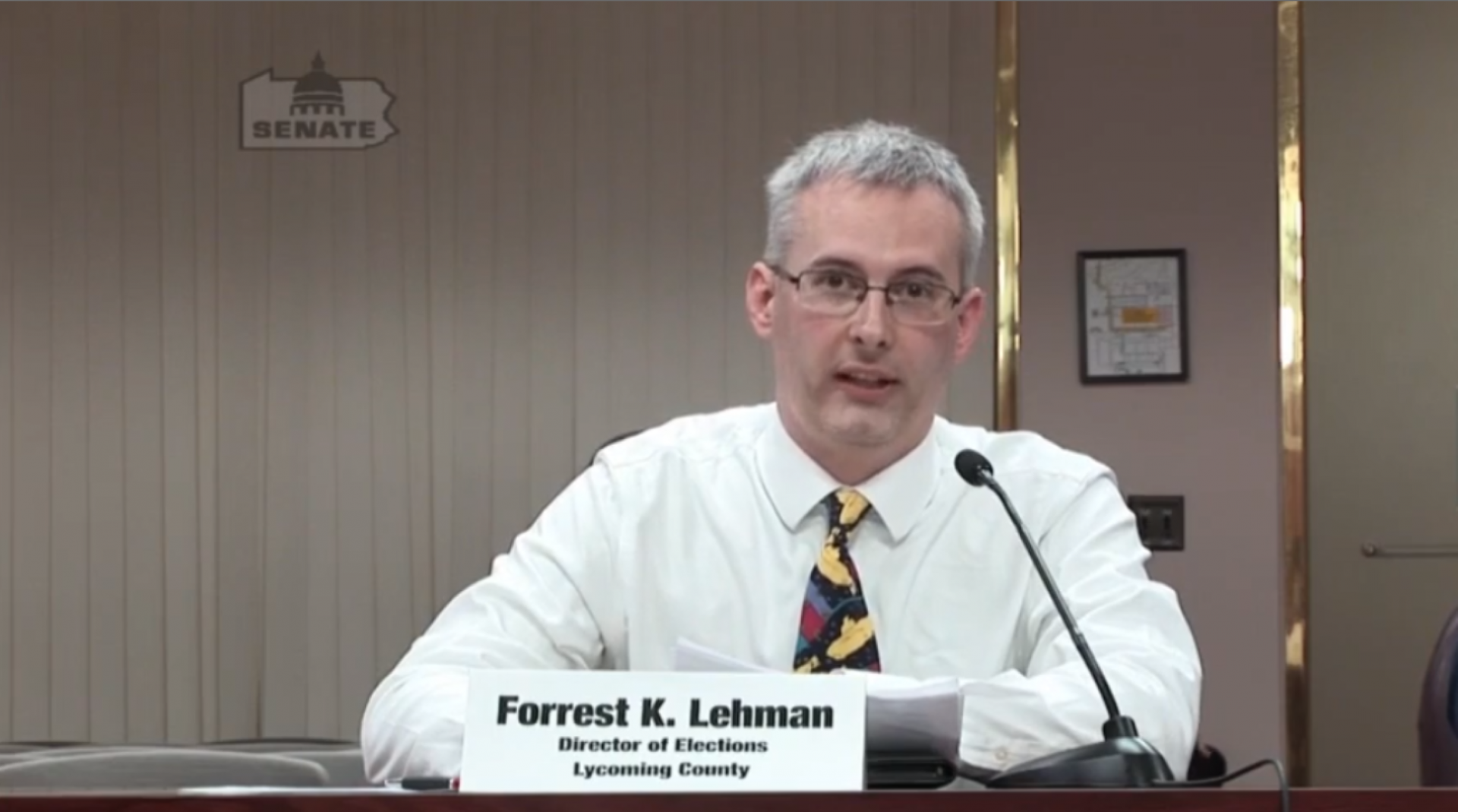 Lycoming County Director of Elections Forrest Lehman testifies before the Pennsylvania Senate Majority Policy Committee Jan. 27, 2020.