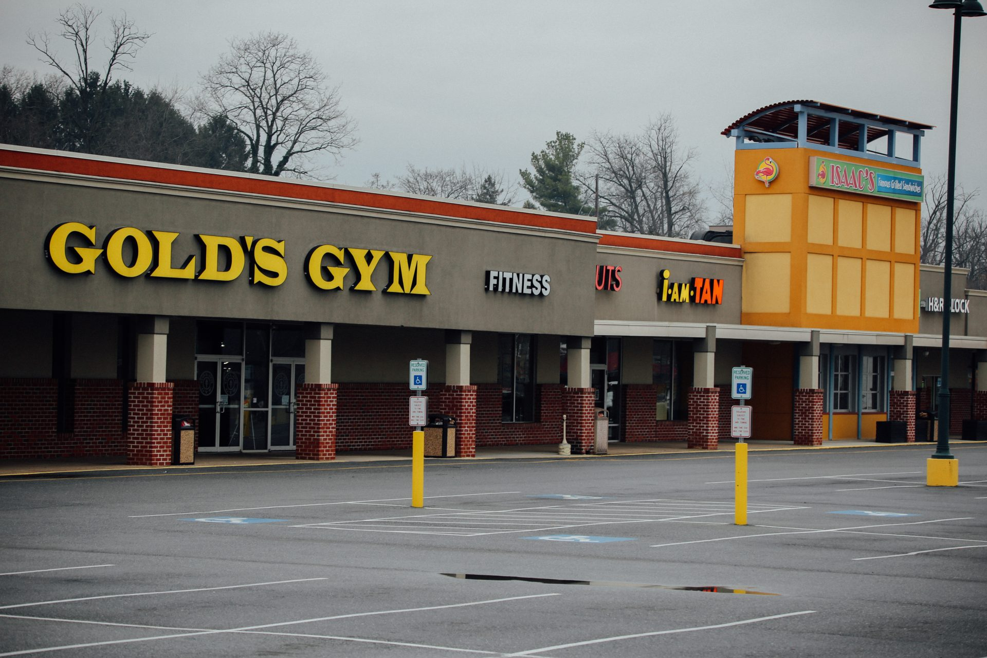 Gov. Tm Wolf on March 19, 2020, ordered gyms and many other businesses to close in Pennsylvania in response to the coronavirus outbreak. An empty parking lot in Hershey is seen on April 1, 2020.