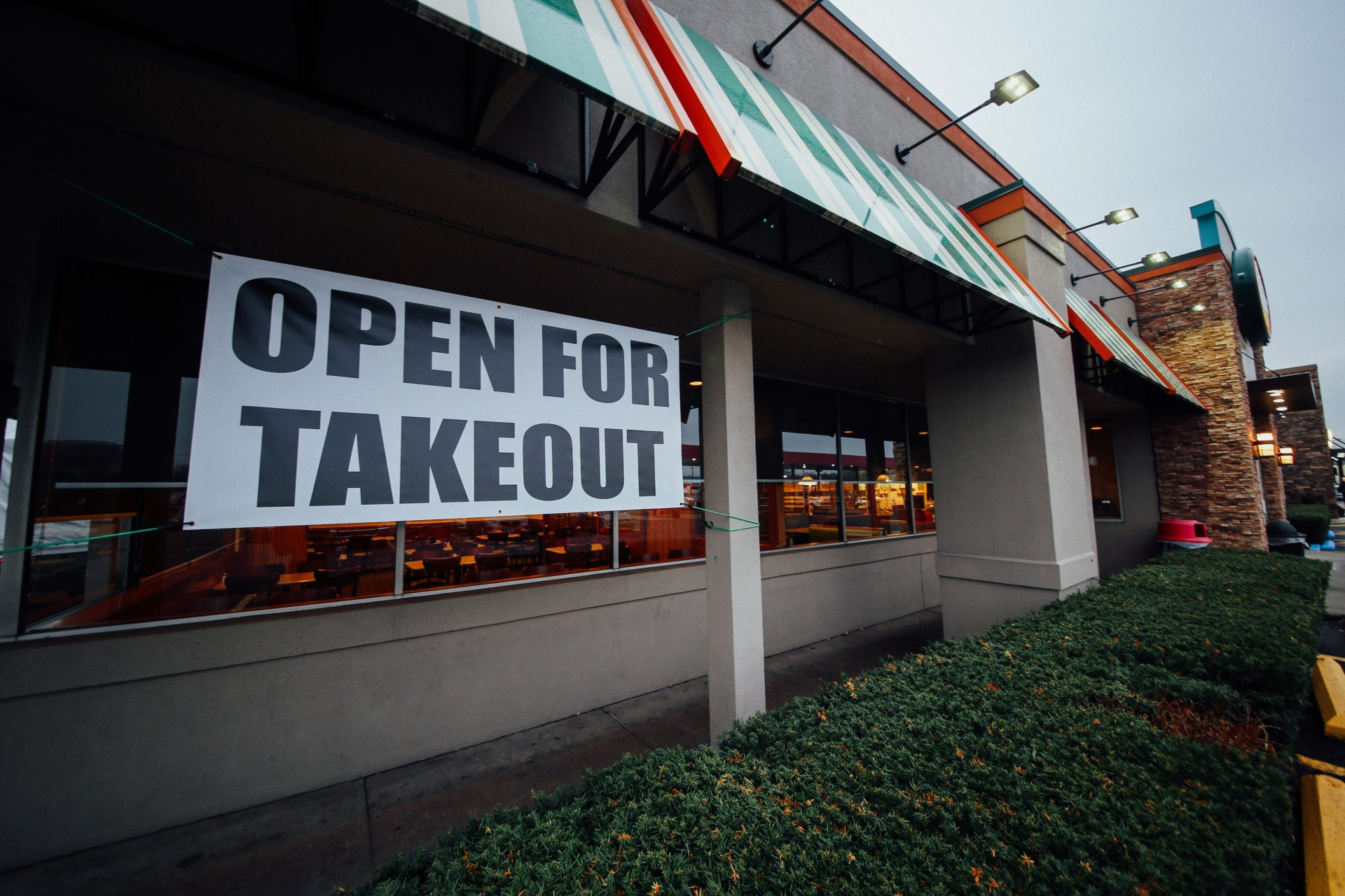 A takeout sign outside of Perkins Restaurant in Manada Hill in the Hershey area.