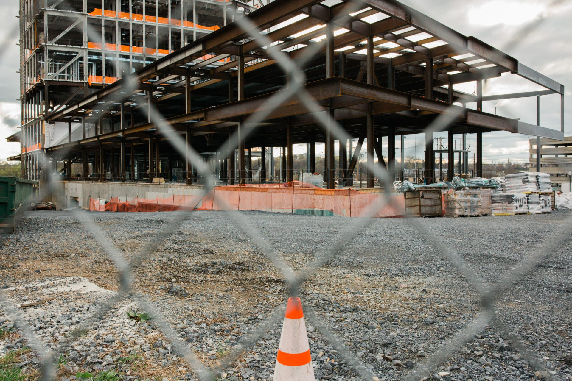 An inactive construction site in Harrisburg is seen on April 10, 2020.