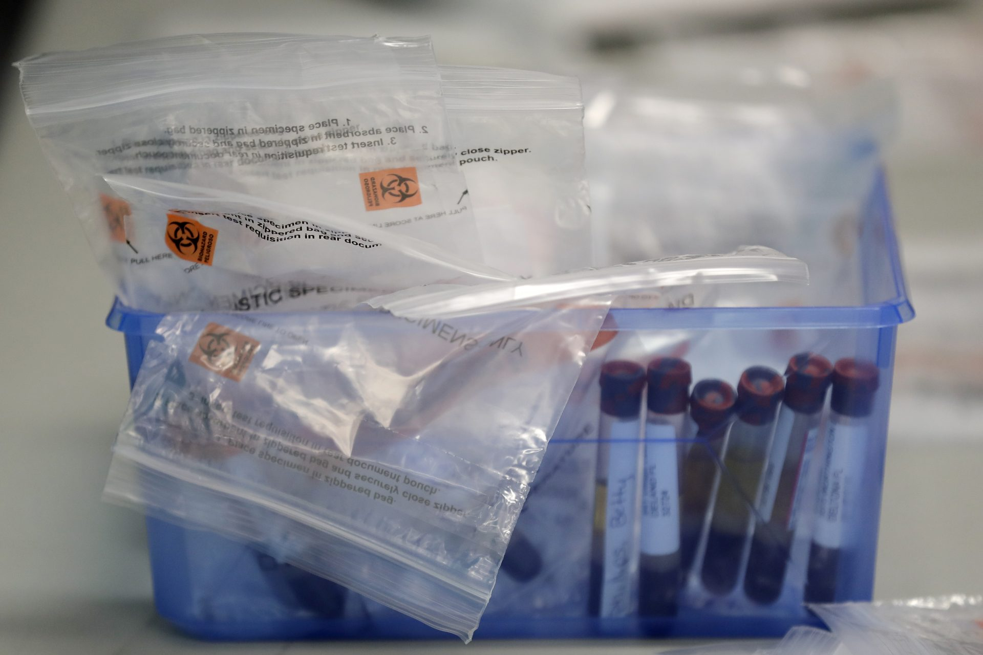 Before being sent to a lab, blood samples from COVID-19 antibody tests are packed in a container at the Volusia County Fairgrounds Tuesday, May 5, 2020, in DeLand, Fla.