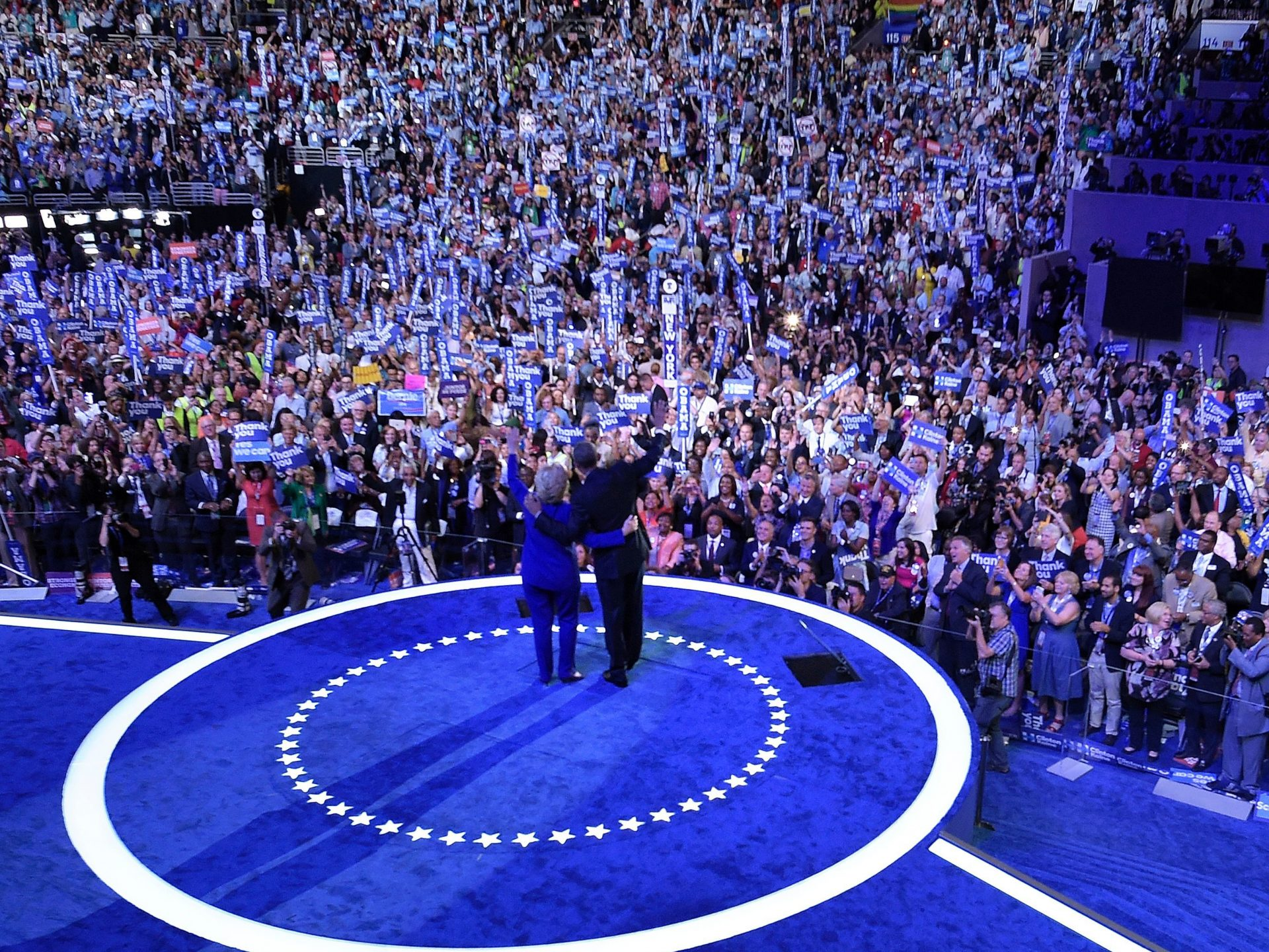 Hillary Clinton embraces President Obama after his address to the Democratic National Convention in Philadelphia in 2016.