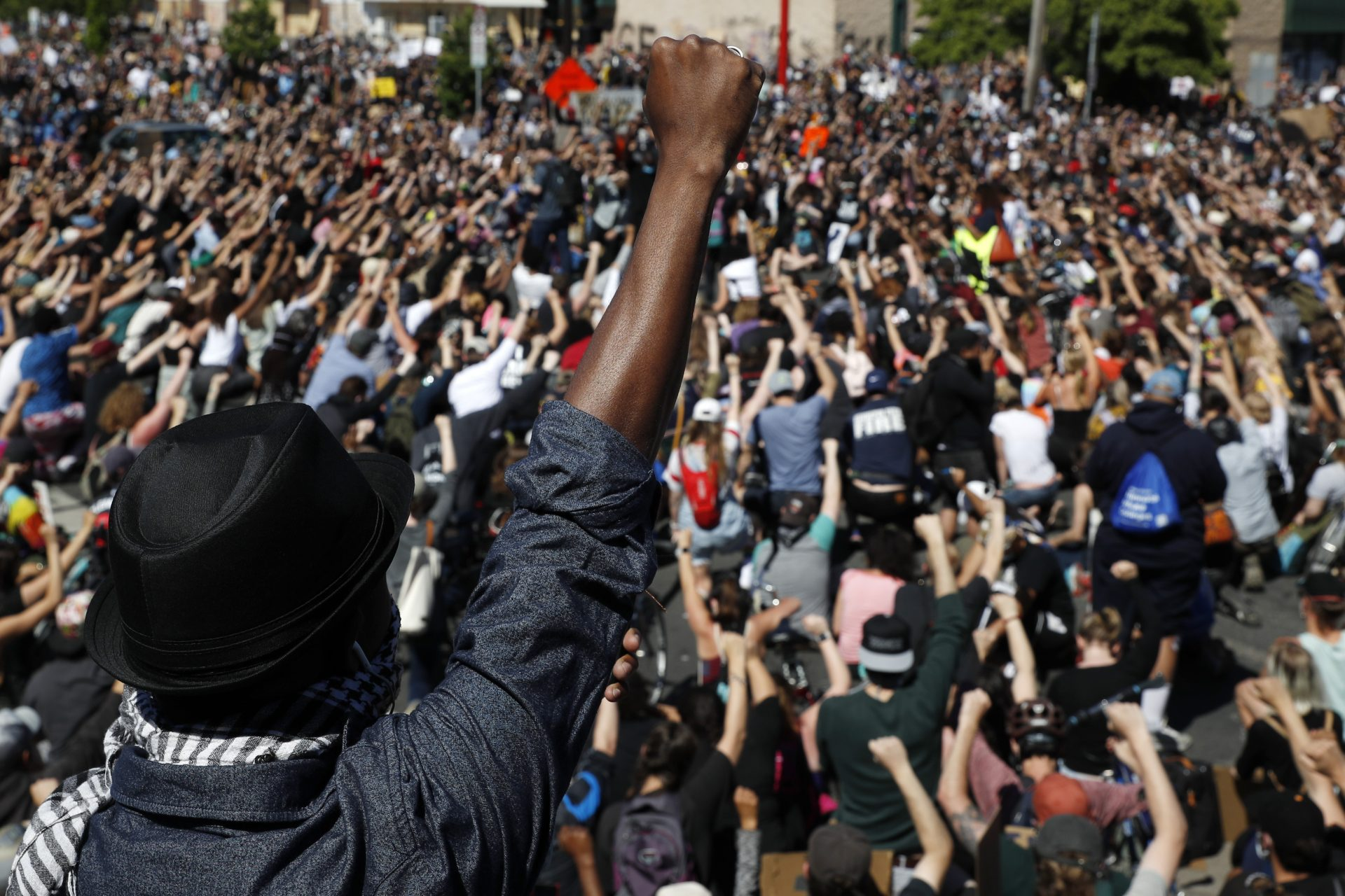 Protesters gather Saturday, May 30, 2020, in Minneapolis. Protests continued following the death of George Floyd, a black man who was killed in police custody in Minneapolis on May 25.