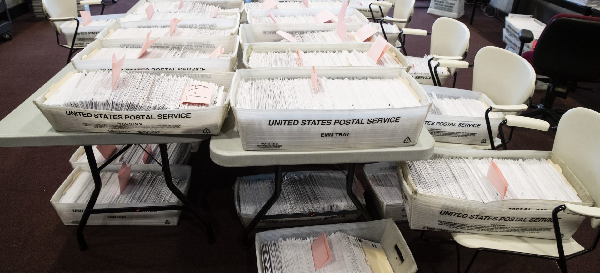 Processed mail-in ballots are seen at the Chester County Voter Services office in West Chester, Pa., prior to the primary election, Thursday, May 28, 2020.