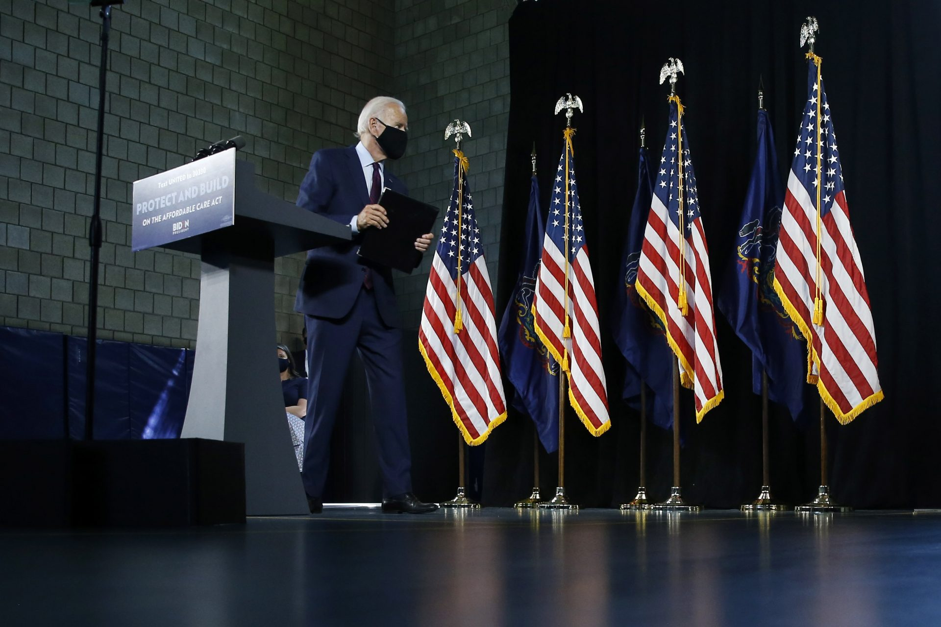 Democratic presidential candidate, former Vice President Joe Biden departs after speaking at an event Thursday, June 25, 2020, in Lancaster, Pa.