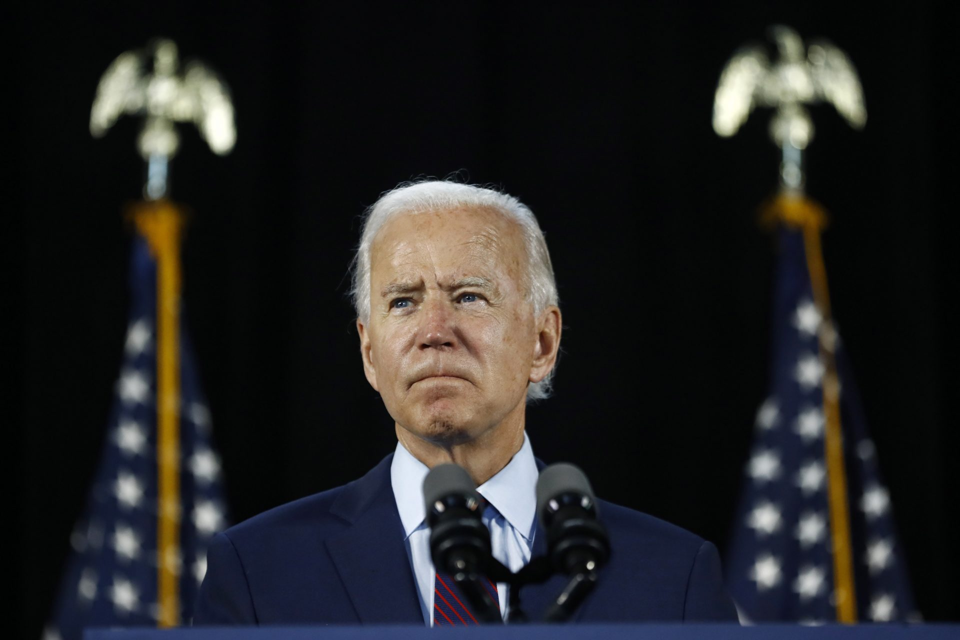 Democratic presidential candidate, former Vice President Joe Biden pauses while speaking during an event Thursday, June 25, 2020, in Lancaster, Pa.