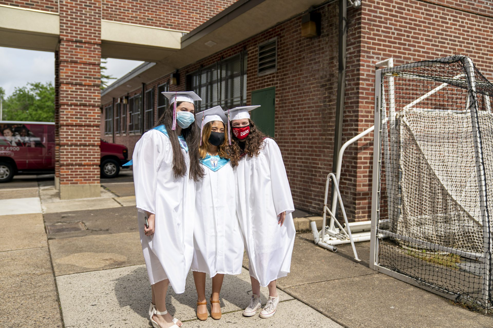 Ashley with friends on graduation day at Little Flower Catholic School for Girls in Hunting Park.