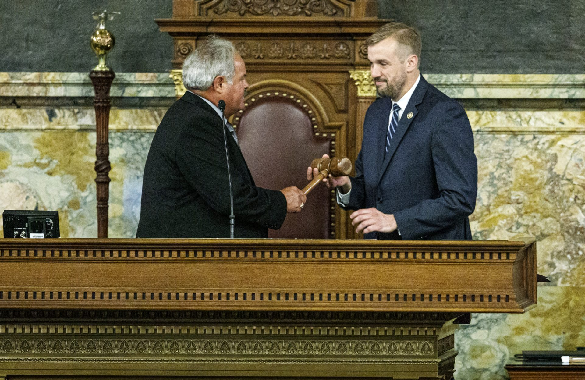 Former state Rep. Scott Boyd, left, hands the gavel to state Rep. Bryan Cutler, R-Lancaster County, after he was elected to serve as Pennsylvania House Speaker, June 22, 2020.