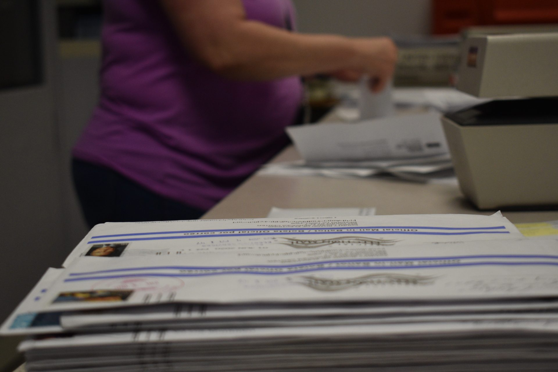 A stack of ballots that arrived at the Berks County Office of Election Services June 4, two days after the deadline. Many thousands of ballots were late statewide, even in the seven jurisdictions covered by deadline extension orders.