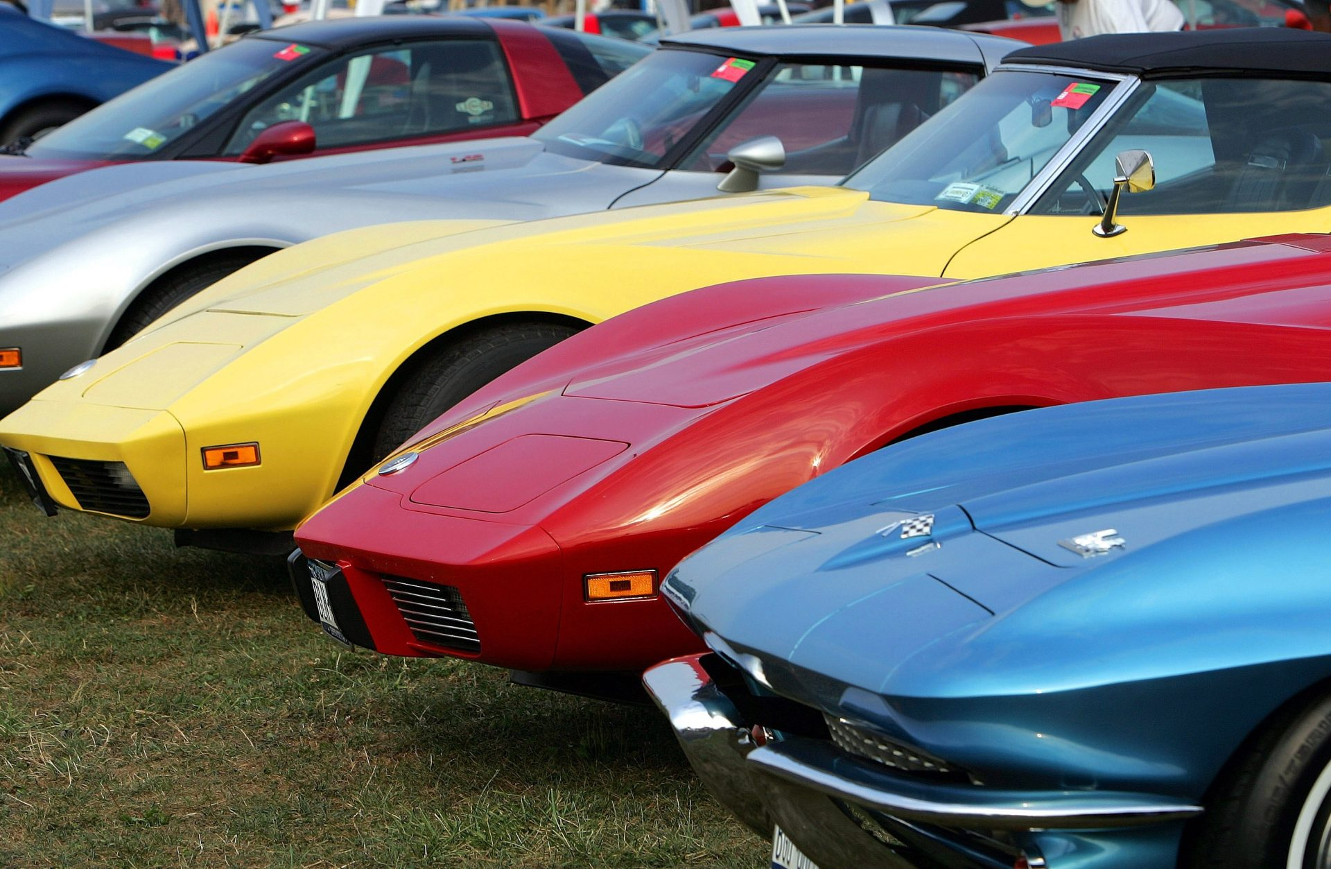 "Corvettes lined up at the""Corvettes at Carlisle"" car show create a rainbow of colors, Friday, Aug. 25, 2006, as their owners show off their prized possessions in Carlisle, Pa."
