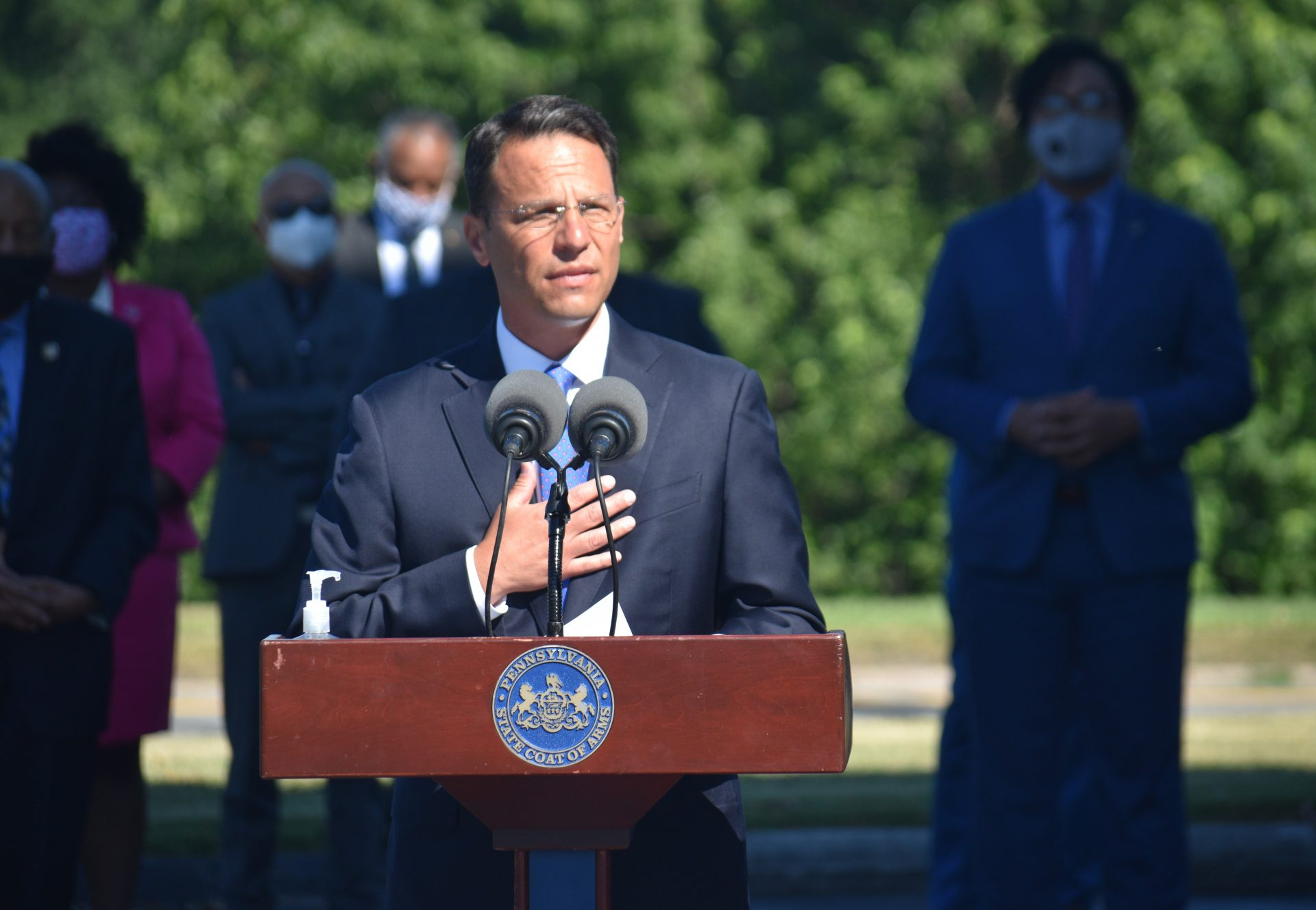 Attorney General Josh Shapiro speaks at a news conference on July 14, 2020.