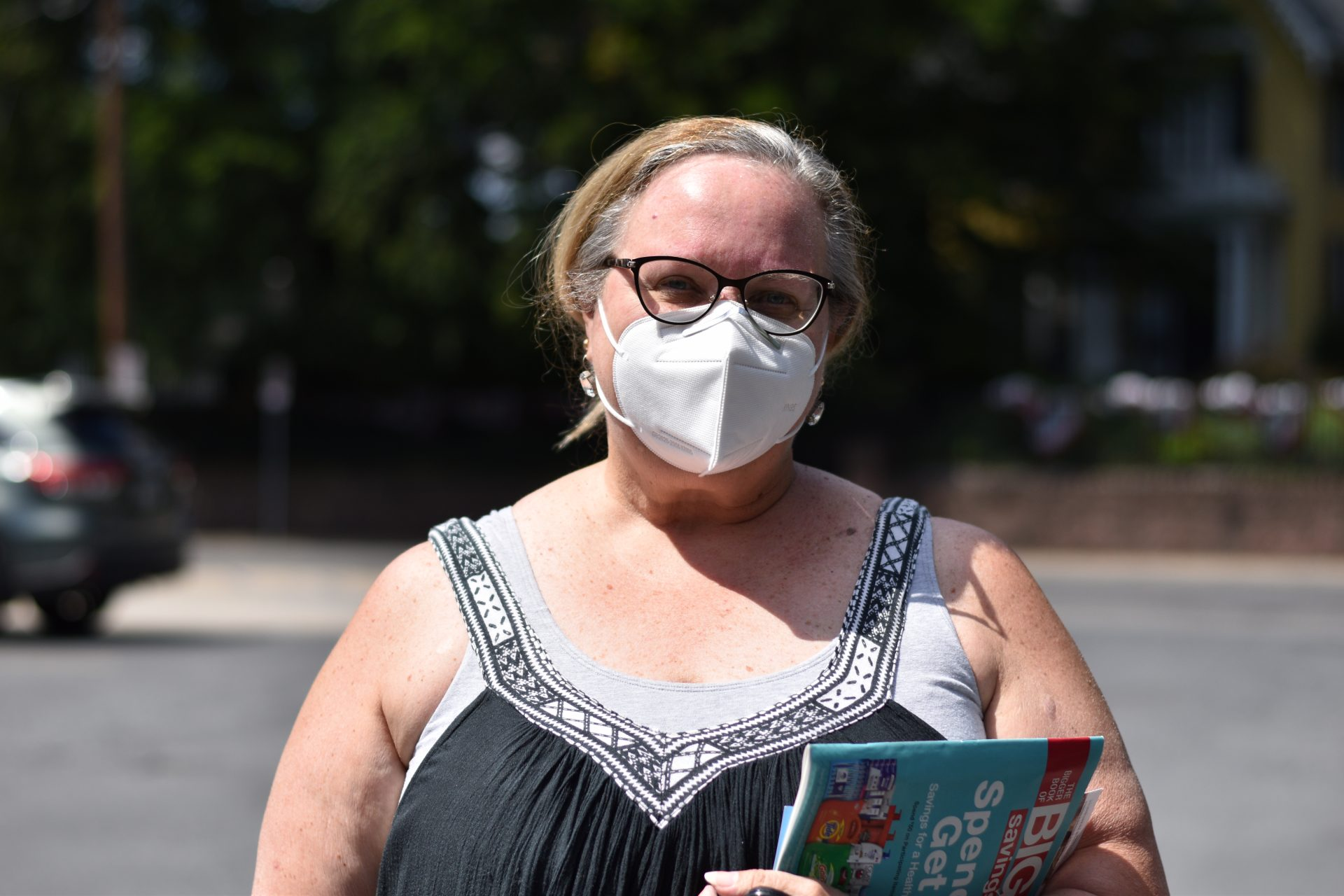 Danette Wiles of Chambersburg wears a KN95 mask when she goes to the post office to get her mail.