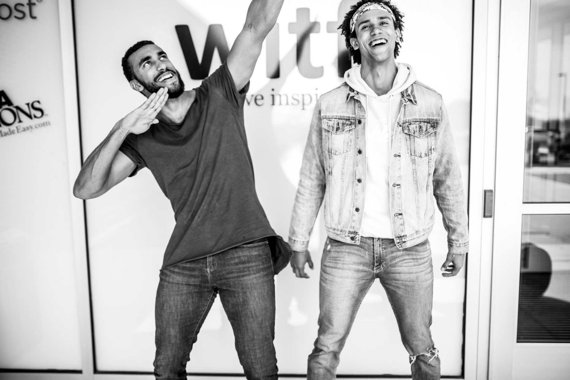 Jordan and Cory Dandy goofing off in front of the WITF Public Media Center