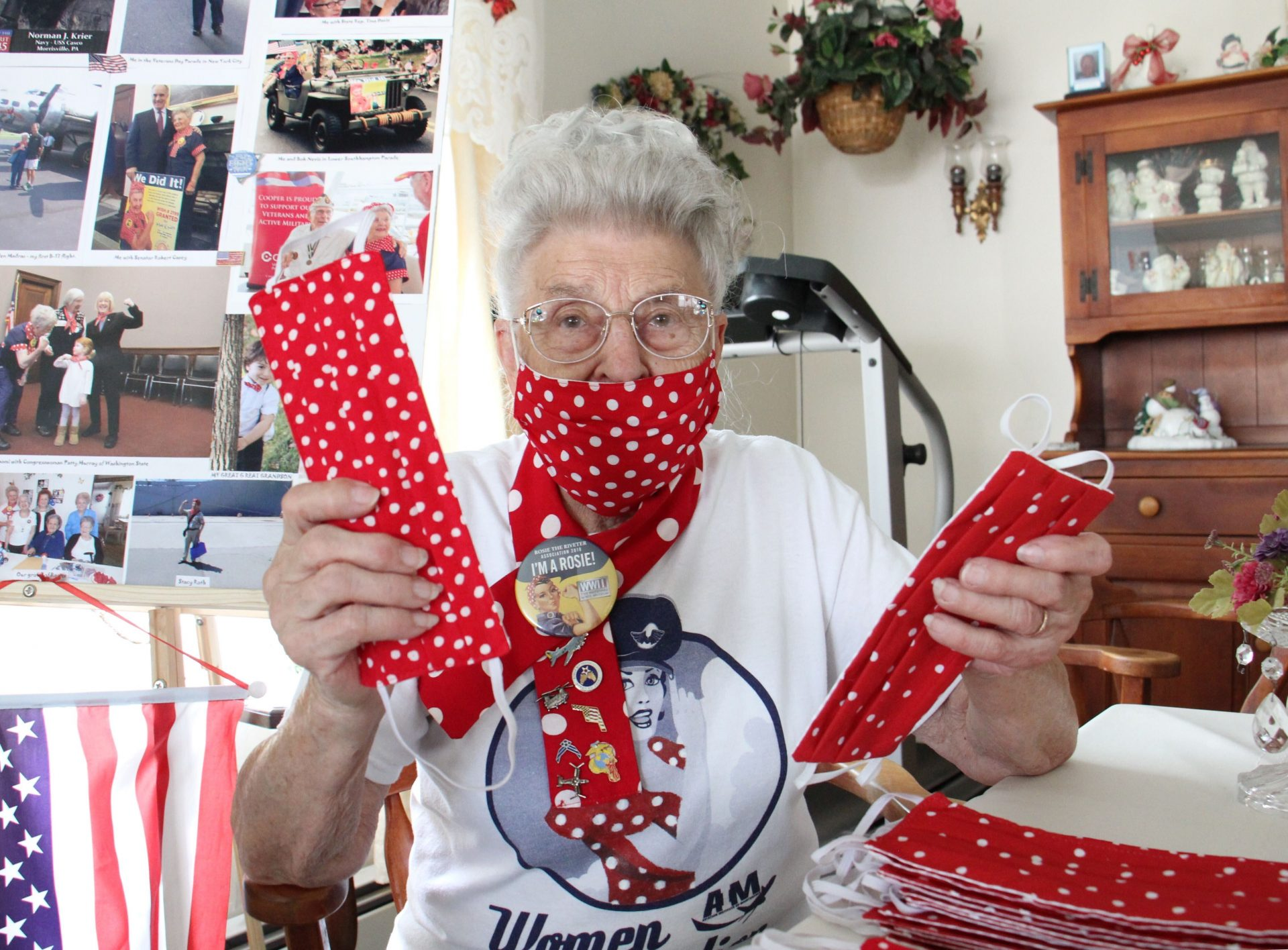 Mae Krier is busy sewing face masks in the 'Rosie the Riveter' pattern at her home in Levittown, Pa.
