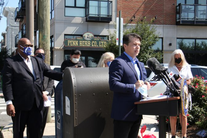 U.S. Rep. Brendan Boyle joins federal, state and local officials at Second and Spring Garden streets to call for emergency funding for the struggling U.S. Postal Service.
