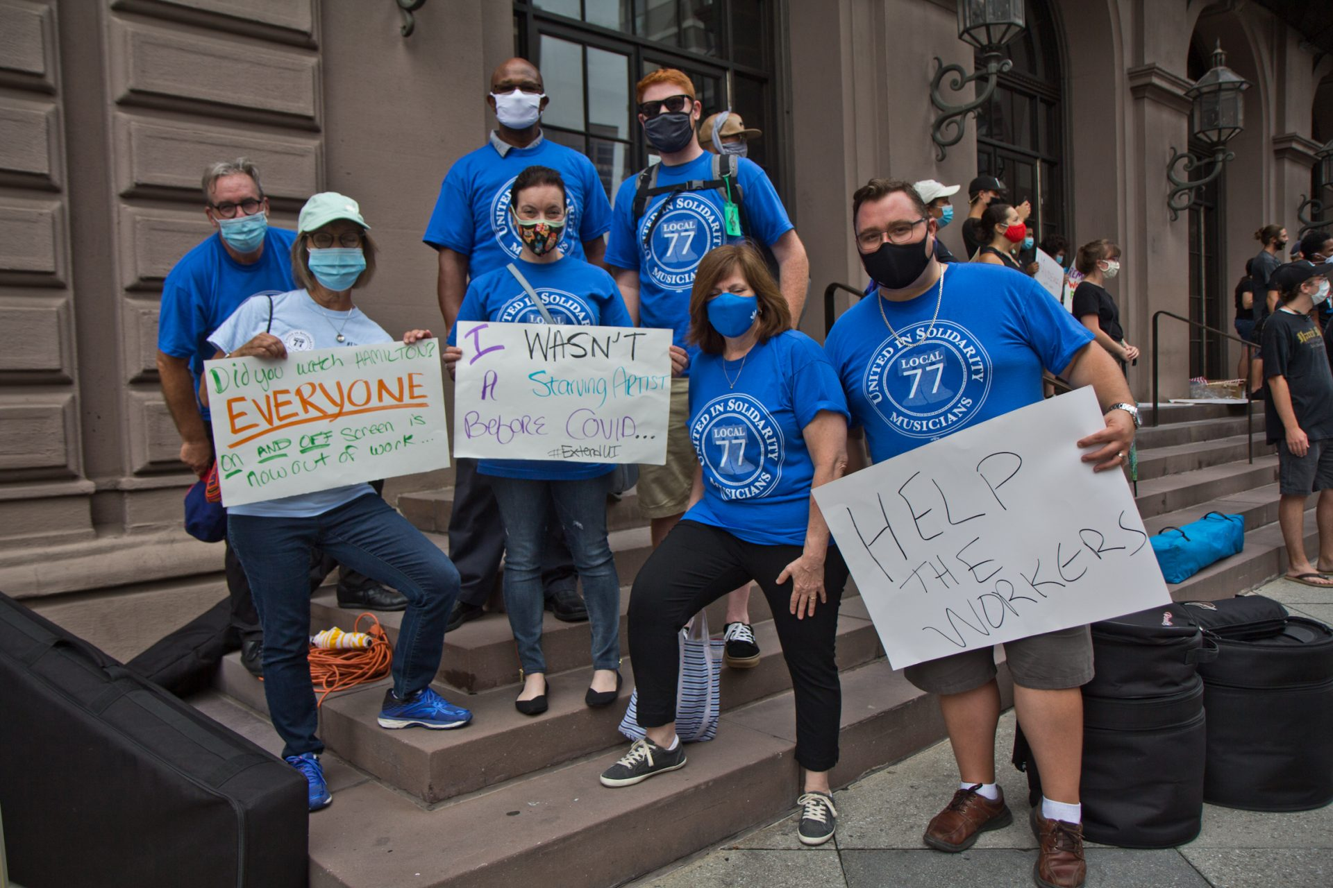Becky Ansel with members of the Philadelphia Musicians' Union Local 77 at a protest demanding the extension of unemployment benefits for out of work musicians, stagehands and other out of work entertainment professionals.