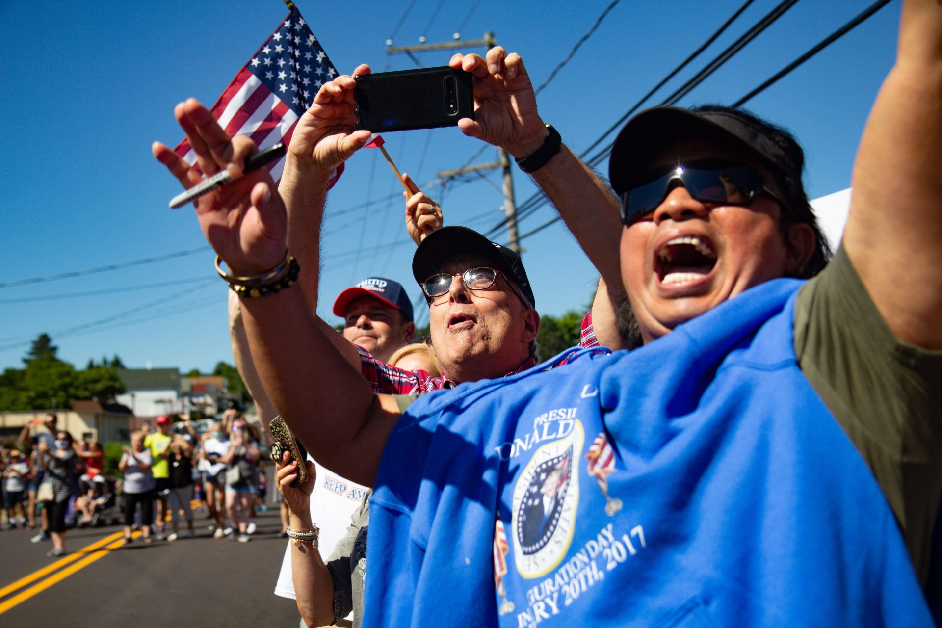 Trump fans excitedly greeted his motorcade as he campaigned in Old Forge, Pa., Thursday.