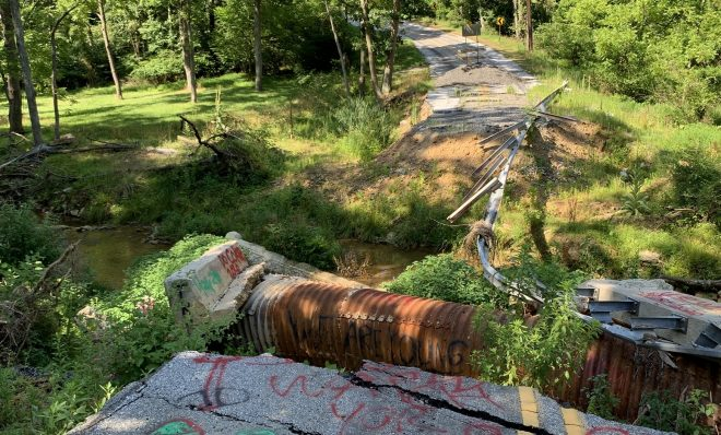Old Forge Road in Chanceford Township, York County is seen here on July 21, 2020-- nearly two years after flash floods carried away part of the road.