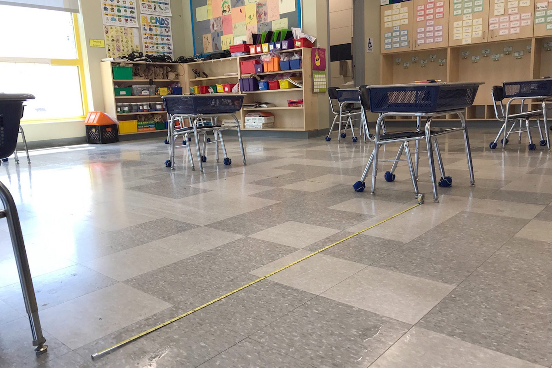 Desks are spaced out 6-feet apart in a classroom at Camden Prep, a charter school in Camden, New Jersey.