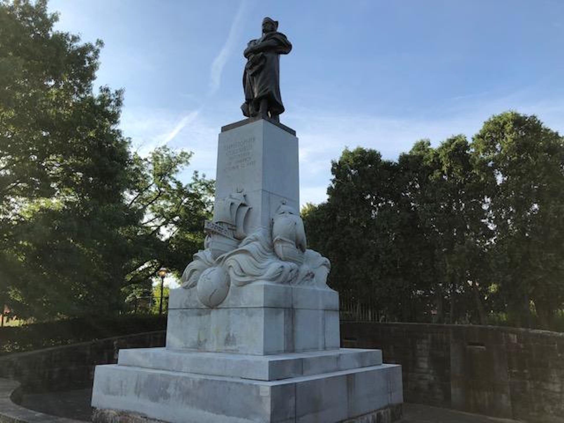"""The statue in Schenley Park is named """"Christopher Columbus Discoverer of America."""""""