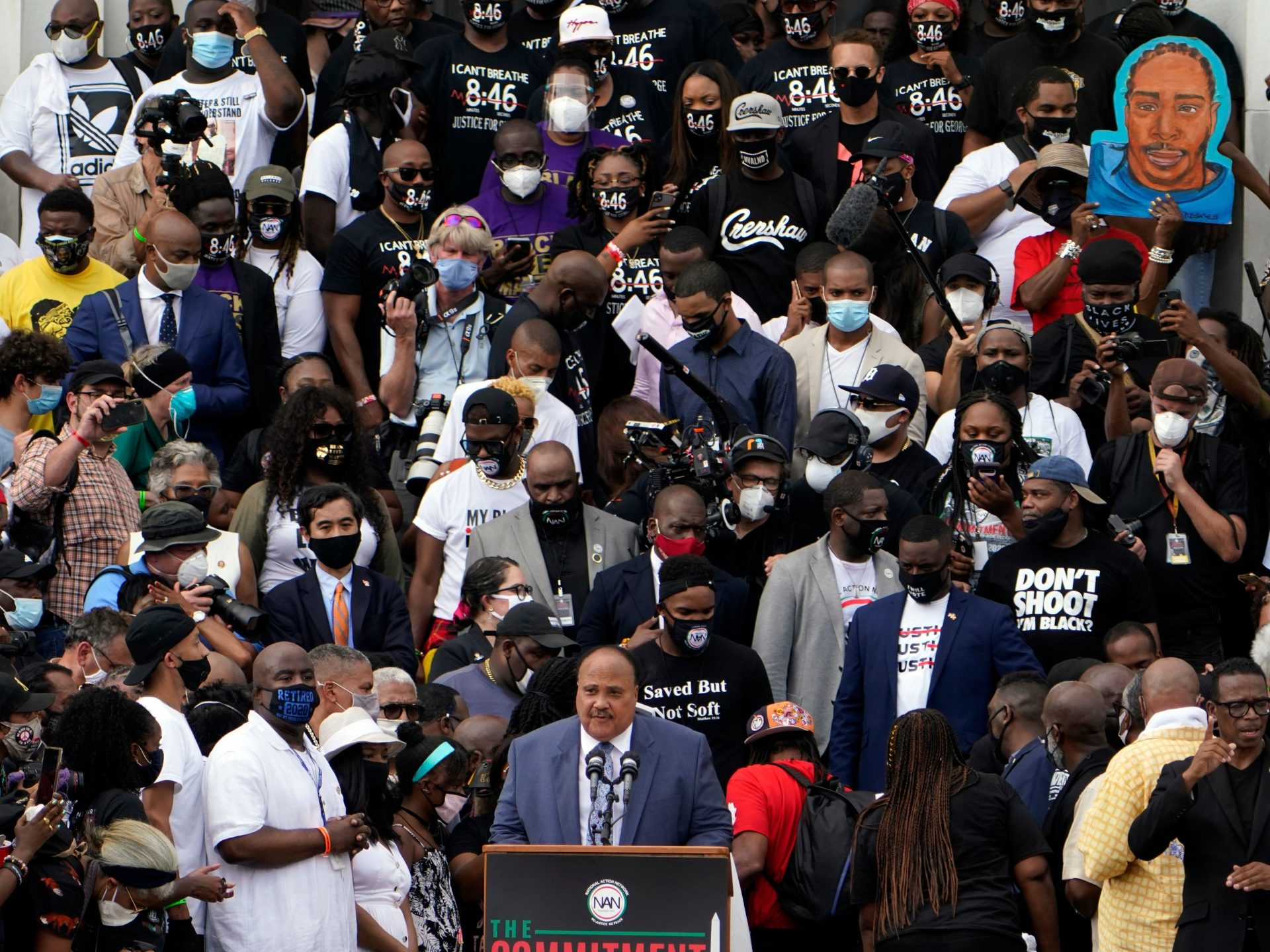 "Human Rights Advocate Martin Luther King III, center at bottom, speaks at the Lincoln Memorial during the ""Commitment March: Get Your Knee Off Our Necks"" in Washington, D.C."
