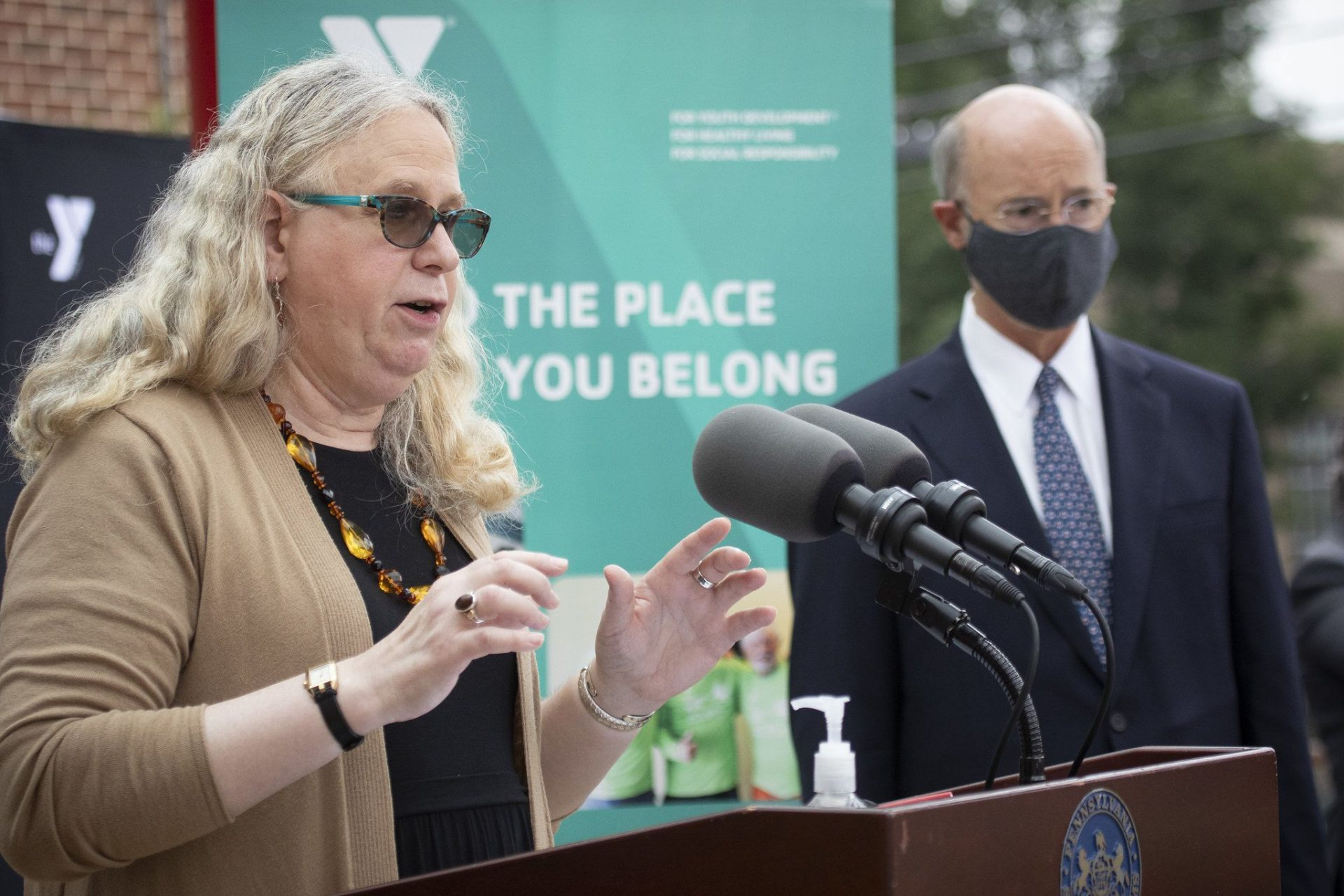 Early on in the pandemic, Pennsylvania Health Secretary Rachel Levine (shown here in York County with Gov. Tom Wolf) cited a decades-old law as a reason for withholding the number of COVID-19 tests the state was conducting and the number of cases in nursing homes. She later reversed course.