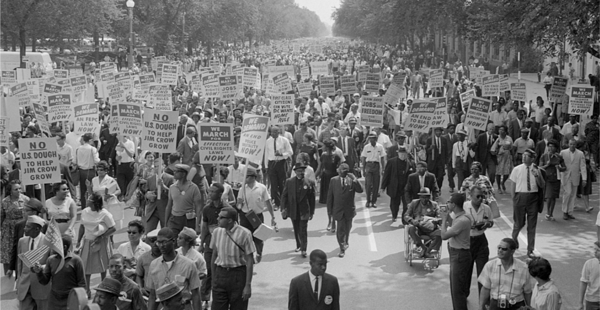 "A scene from the original March on Washington, where Rev. Martin Luther King Jr., delivered his iconic ""I Have A Dream Speech"" in 1963. Demonstrators will again gather in Washington on Friday to call for racial justice and police reform."