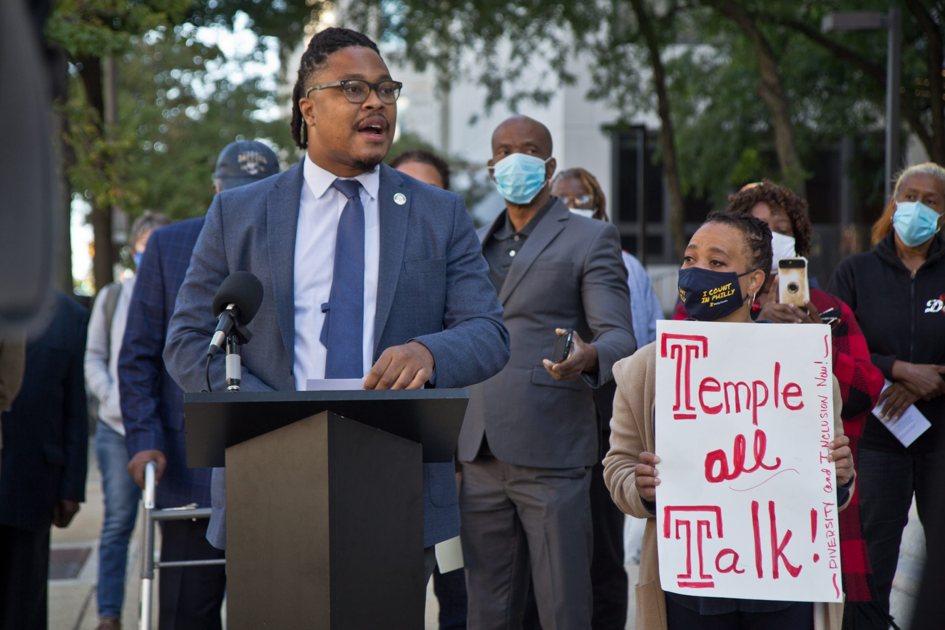 Pa. State Rep. Malcolm Kenyatta led a press conference on the campus of Temple University demand their Board of Trustees for a more inclusive and diverse search committee for a new University President.