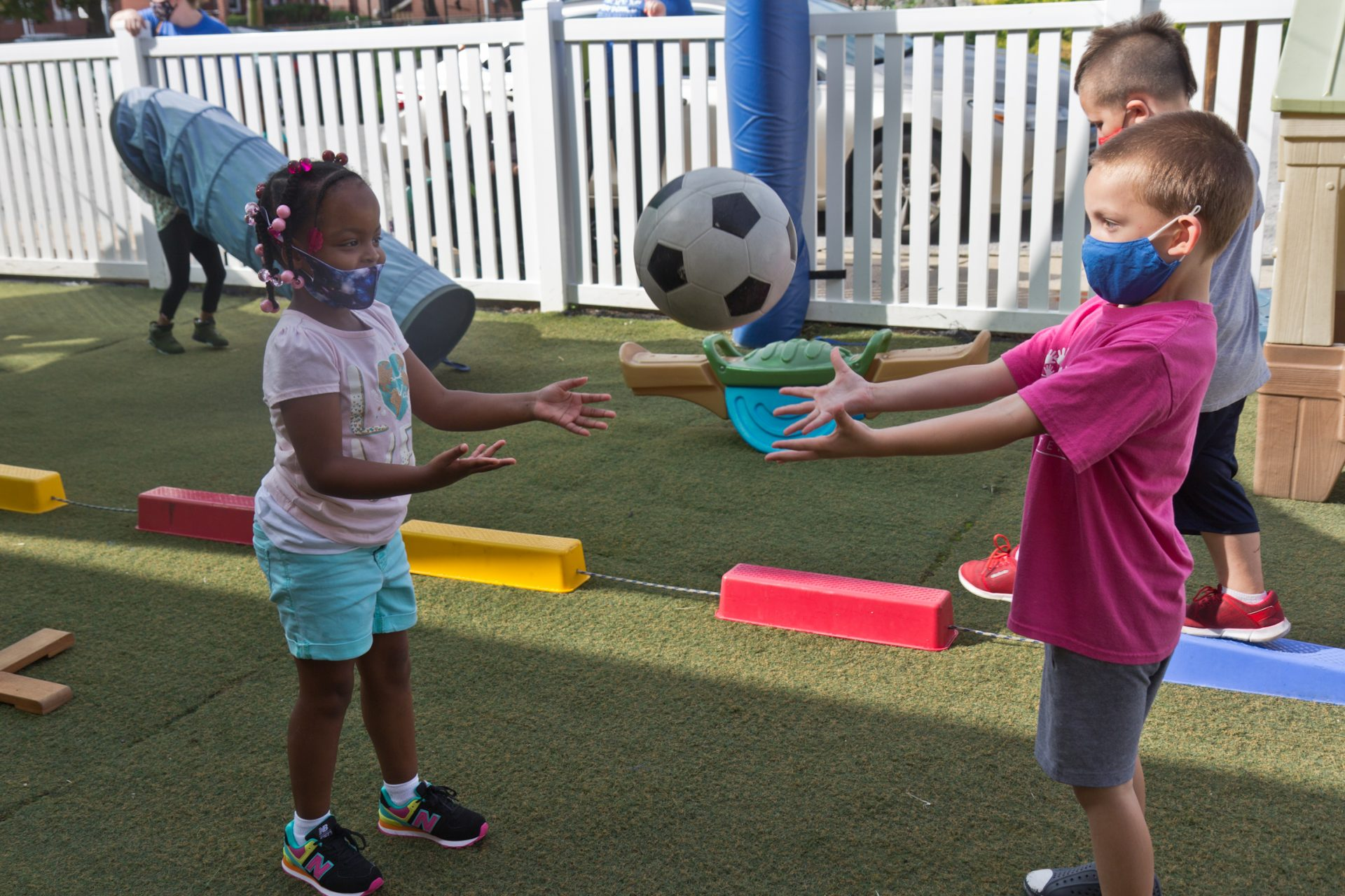Kids at Today's Child daycare in Clifton Heights, Pa., have supervised playtime outside.