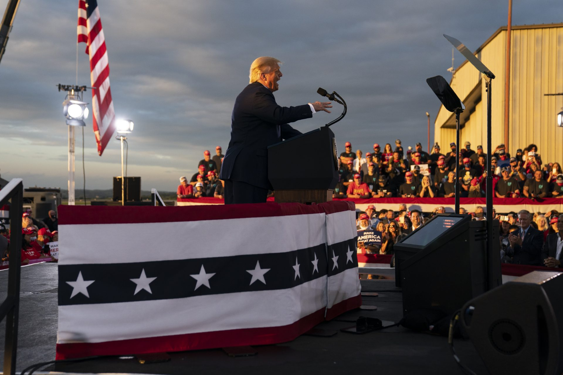 President Donald Trump speaks during a campaign rally at Arnold Palmer Regional Airport, Thursday, Sept. 3, 2020, in Latrobe, Pa