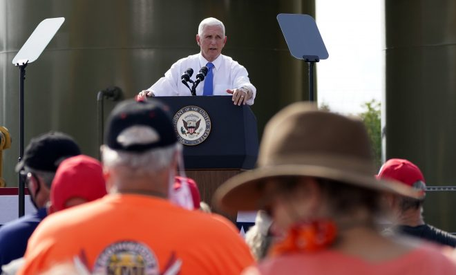 Vice President Mike Pence speaks at a campaign event at a PennEnergy Resources site on Wednesday Sept. 9. 2020, in Freedom, Pa.