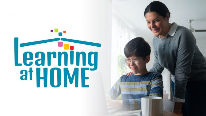 Mother and Child with Learning at Home logo