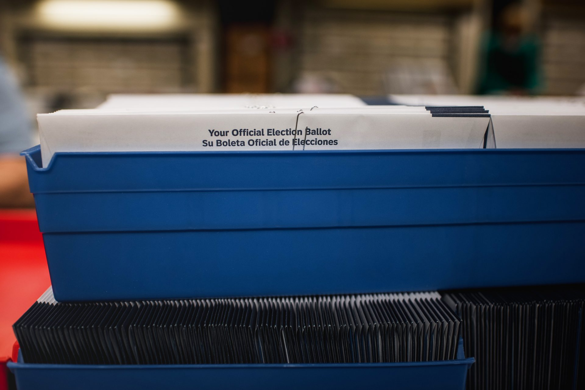 Election ballots sit in a bin at the Voter Registration office in the Lehigh County Government Center in Allentown, PA., on Tuesday, September 15, 2020.