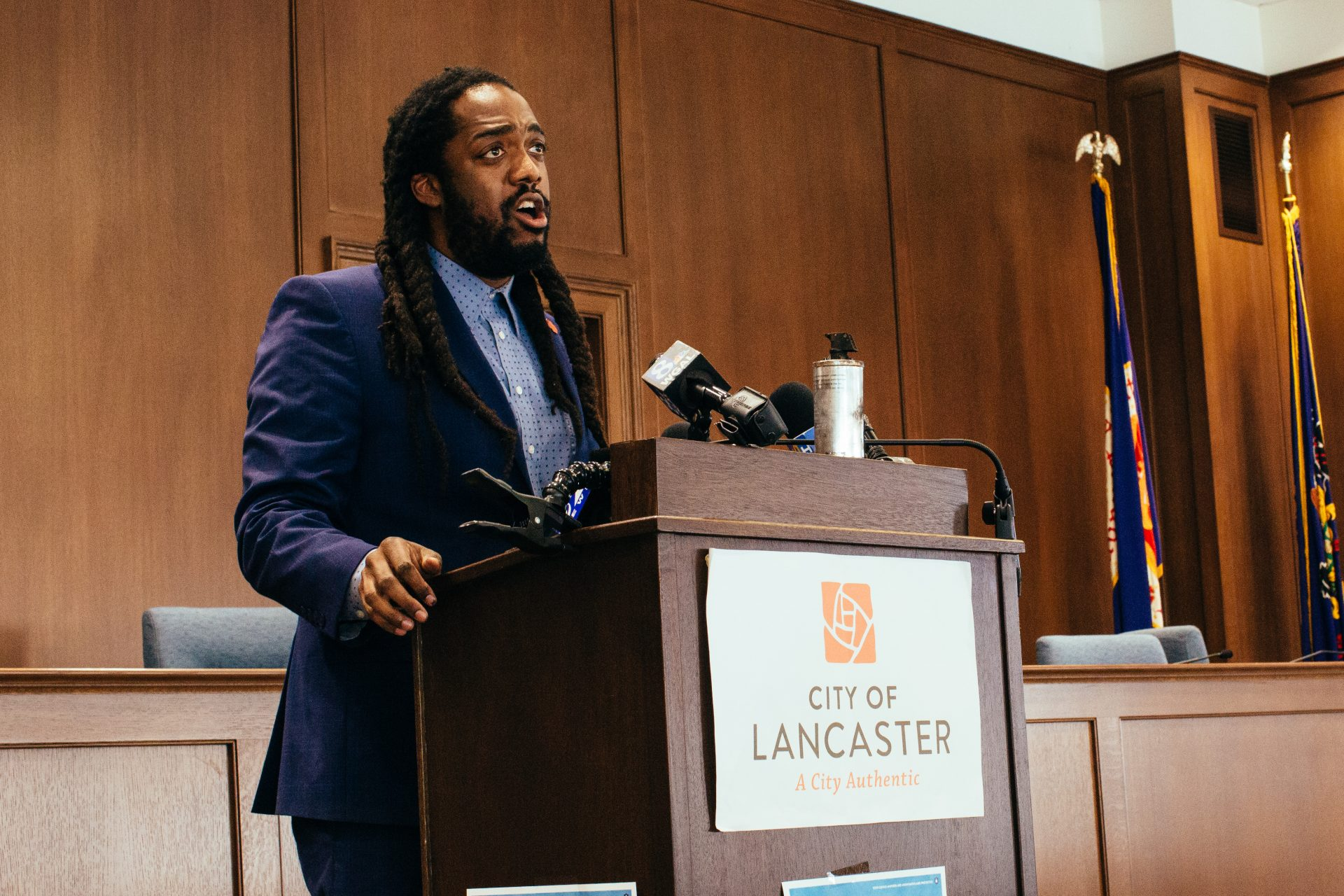 Lancaster City Council president Ismail Smith-Wade El speaks at a press conference following the shooting, protests and destruction in Lancaster, Pa., on September 14, 2020.
