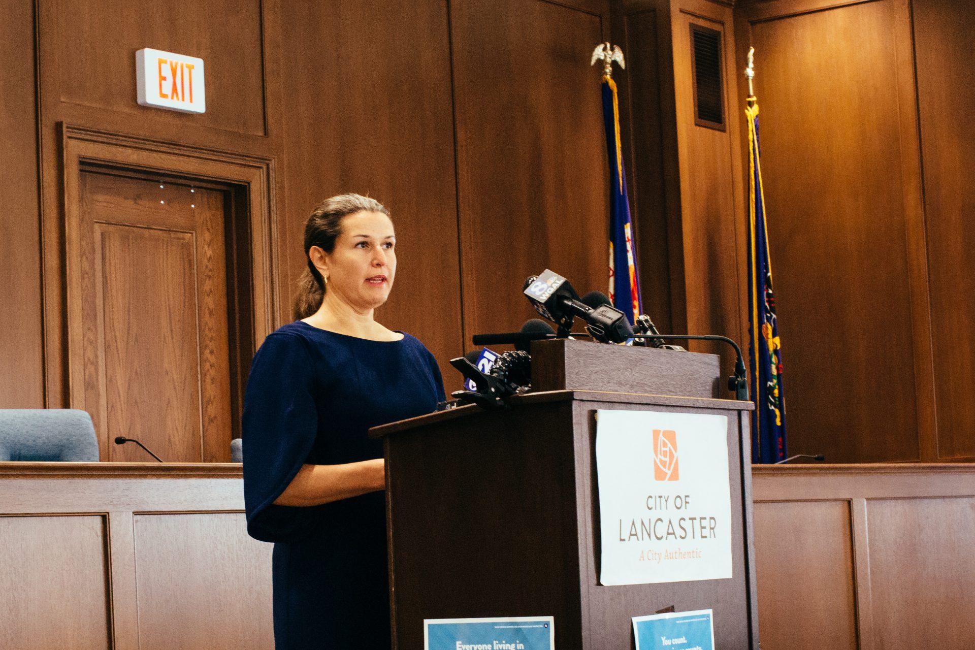 Lancaster Mayor Danene Sorace speaks at a press conference in Lancaster, Pa., on September 14, 2020.