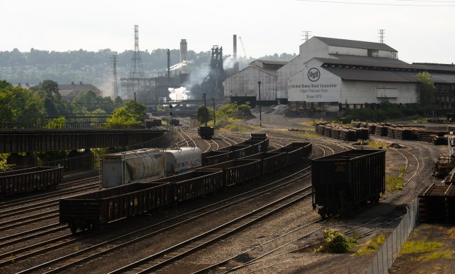 United States Steel Corp. Edgar Thomson Plant in Braddock, Pennsylvania, U.S., on Saturday, Sept. 12, 2020.  A narrow win in Pennsylvania helped decide the presidency for Trump in 2016, ending a two-decade-long winning streak in the Keystone State by Democratic presidential candidates. Democratic Presidential candidate Joe Biden leads the president in Pennsylvania by 4.3 percentage points, according to RealClearPolitics' average of recent polls.